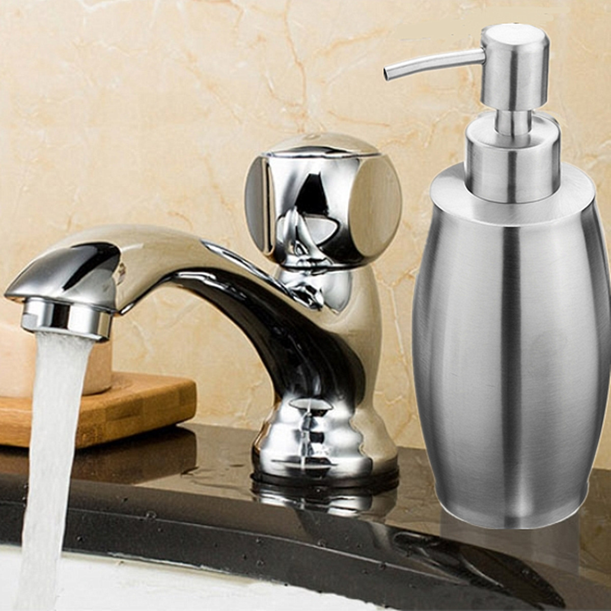 SH158 Uniform Push Stainless Steel Sanding Liquid Soap/Latex/Hand Dispenser 375ML
