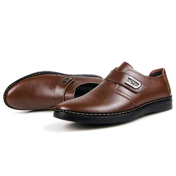 Men Comfy Leather Hook Loop Business Oxfords