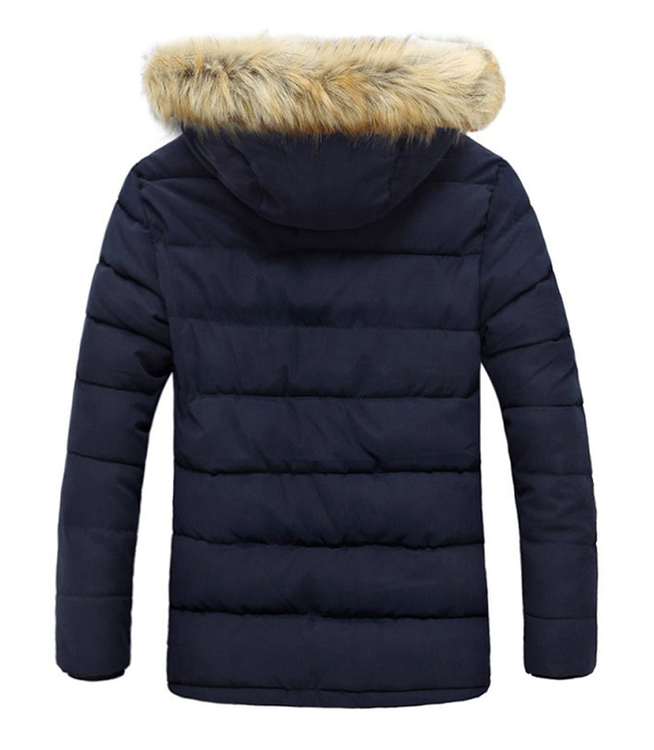 Winter Thickened Warm Furry Hood Mid Long Padded Jacket Parkas for Men