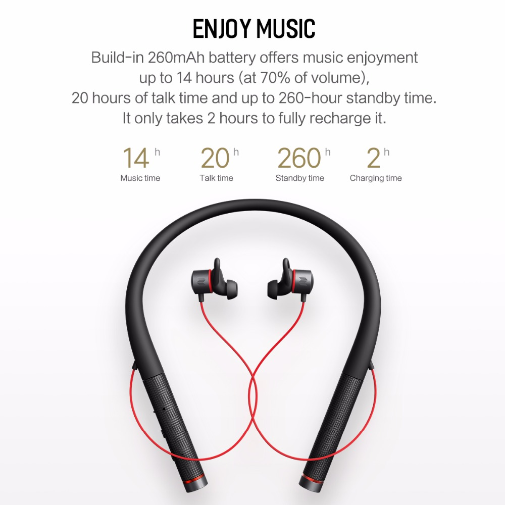 ROCK SPACE Sport IPX4 Waterproof Magnetic bluetooth Earphone Headphone With Mic Noise Cancelling
