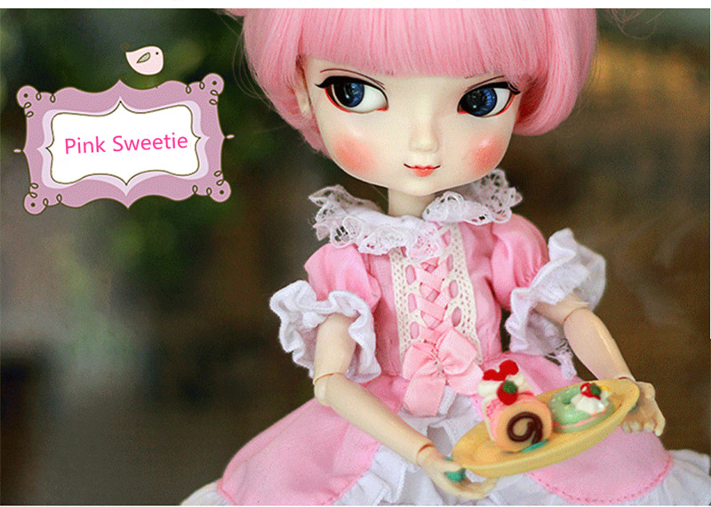 BBGirl Pink Sweetie BJD Ball Joint Doll 35cm Collection Gift Toy Face Eyes Changeable Customized