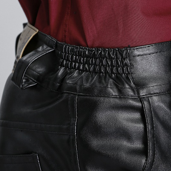 Mens PU Leather Motorcycle Biker Pants Windproof Winter Thick Warm Trousers