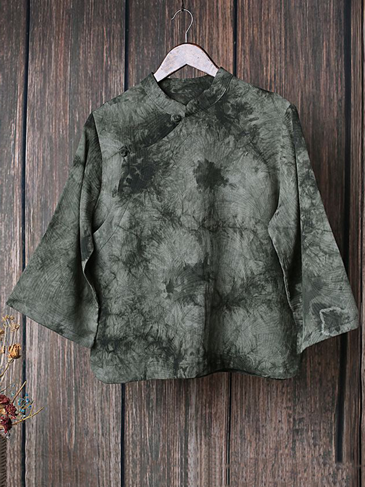 Vintage Floral Print Plate Buckle Stand Collar Blouse