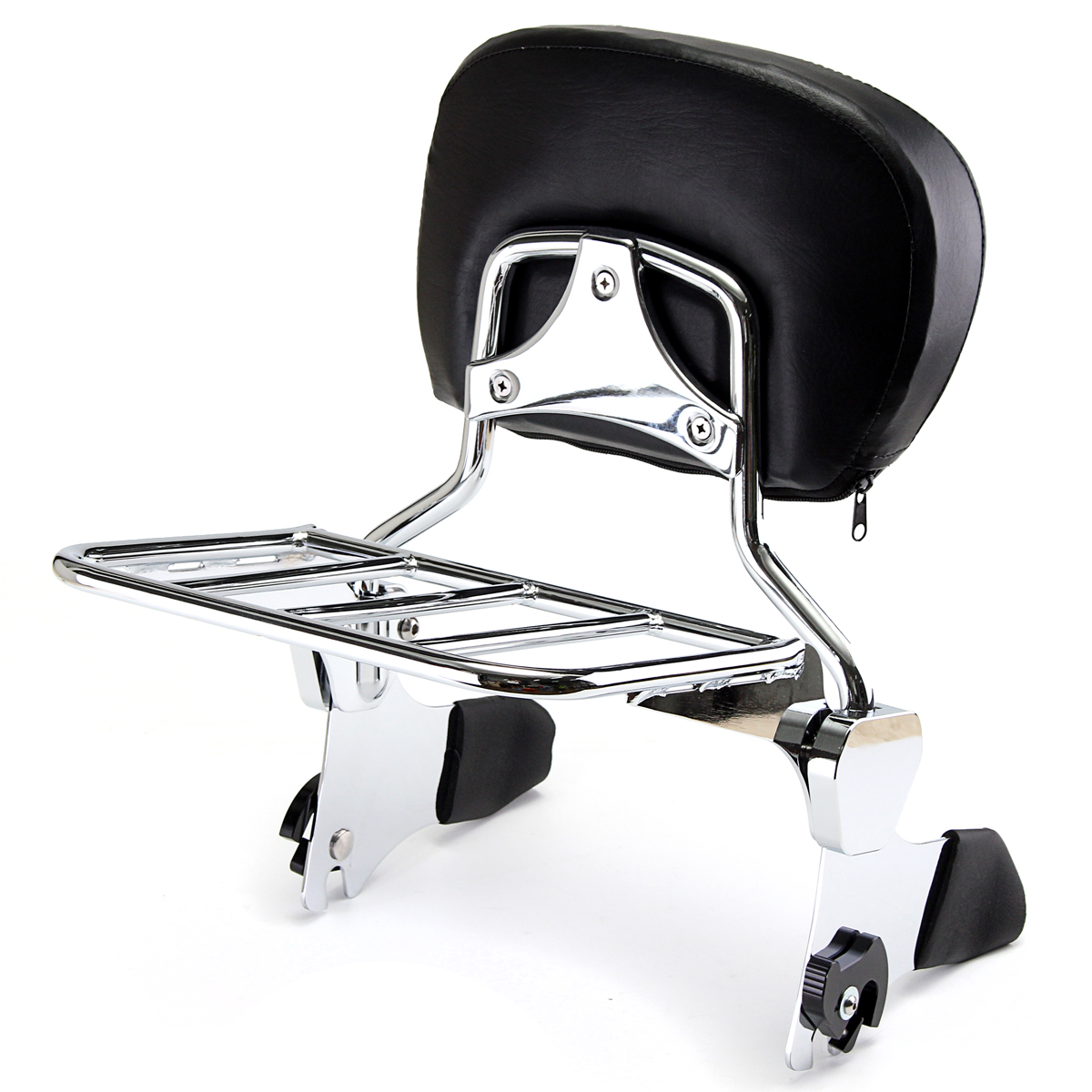 Backrest Sissy Bar with Luggage Rack Chrome For Harley Electra Street Road Glide