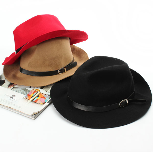 Women Ladies Wool Blend Belt Bowler Trilby Fedora Cap Wide Brim Cowboy Hat
