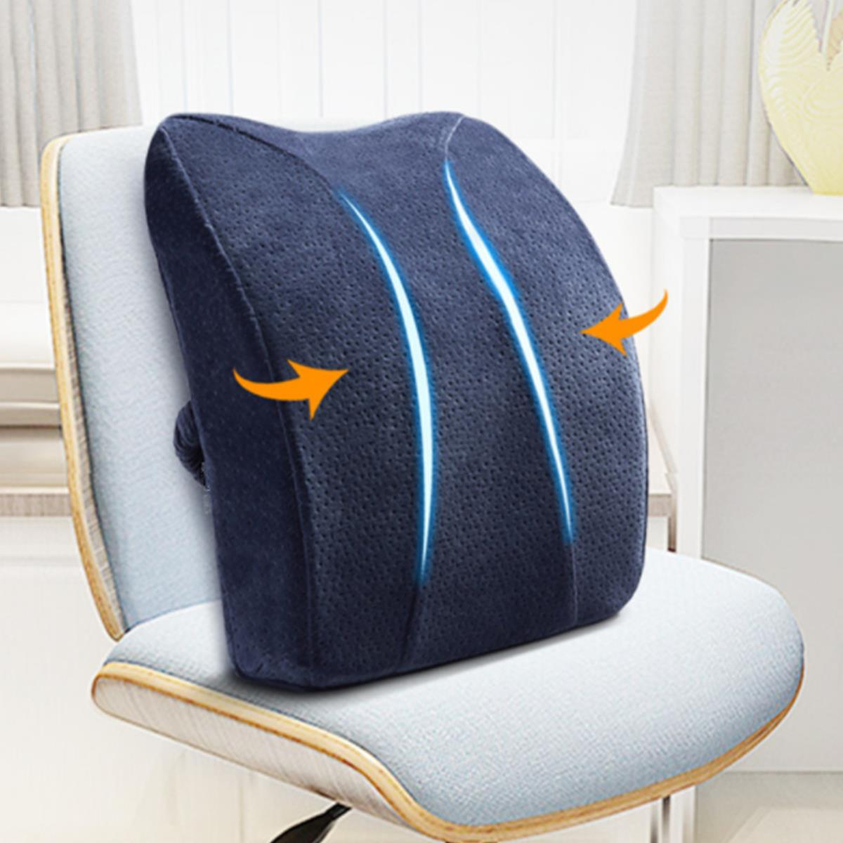 Memory Foam Seat Back Cushion Lumbar Waist Support for Car Home Office Chair Rest