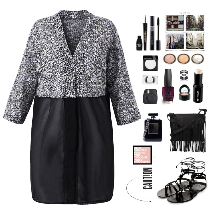 Casual Women Patchwork Knitted Chiffon Long Sleeve Loose Cardigan
