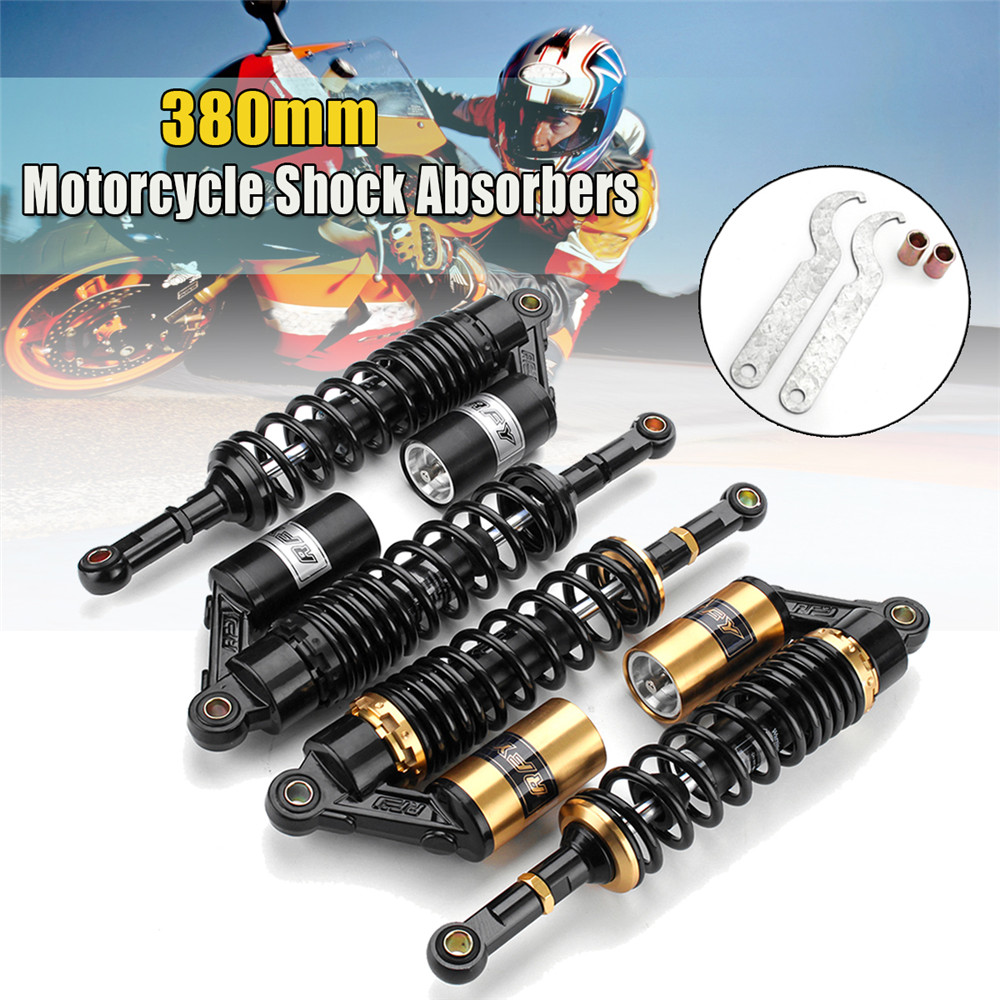 Pair 15inch 380mm Rear Air Shock Absorbers Suspension For ATV Motorcycle Dirt Bike