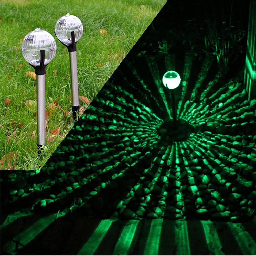 2pcs Solar Colorful Ball Stake Lamp Waterproof Outdoor Garden Path Lawn Landscape Light Decor