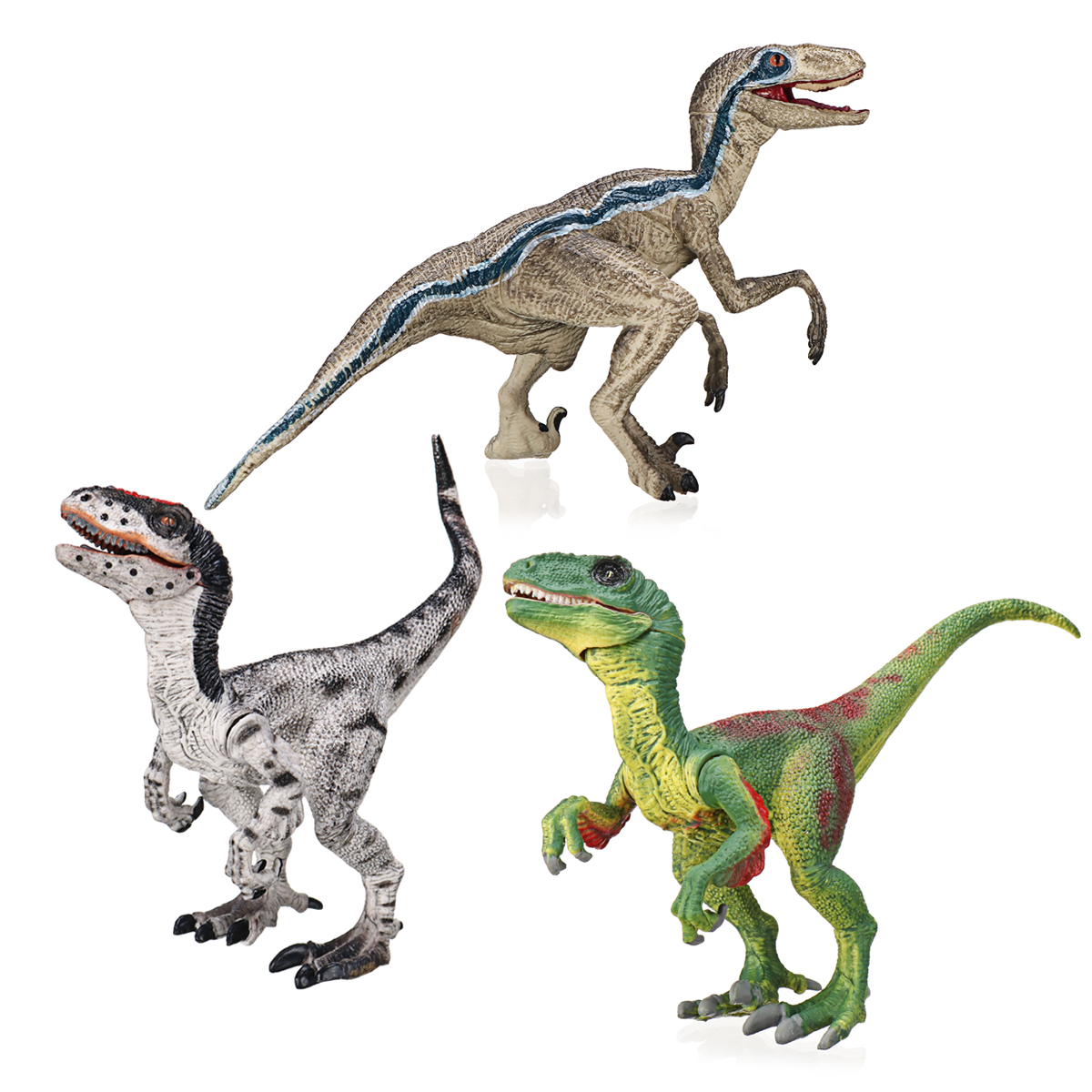 Velociraptor Dinosaur Toys Educational Model Figure 133 Grey Green For Kids