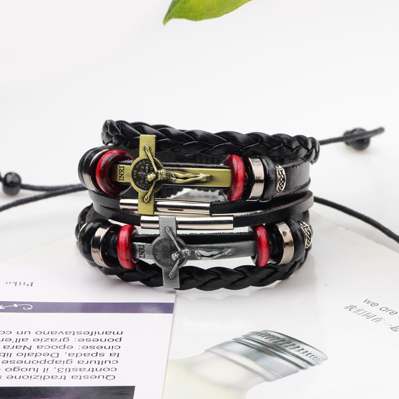Trendy Multilayer Leather Cross Jesus Pendant Men Bracelet Adjustable Bangle Chain