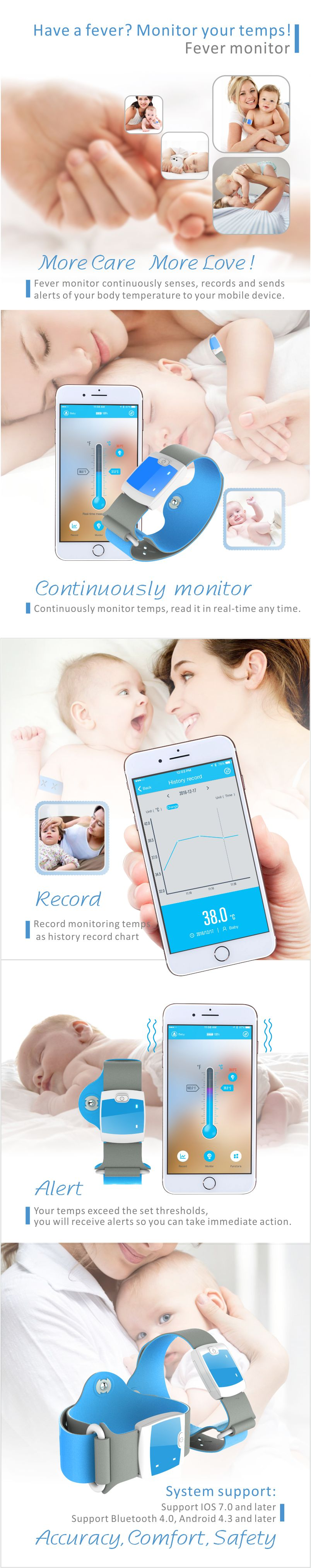 Vvcare BC-DQ02 Smart Medical Thermometer Bluetooth 4.0 Wireless 24HR Continuous Fever Monitoring with Mobile Alerts for Baby
