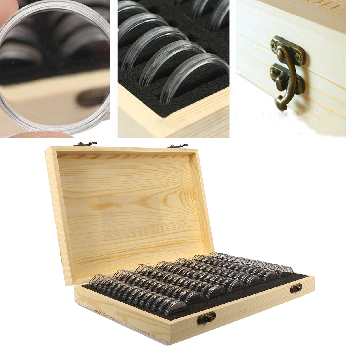 100Pcs 25/27/30mm Round Coin Display Wood Storage Box Case For Certified Coin Holder