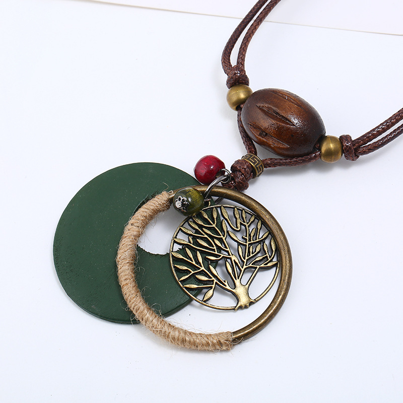 Women's Vintage Tree Wood Bead Long Leather Pendant Necklace