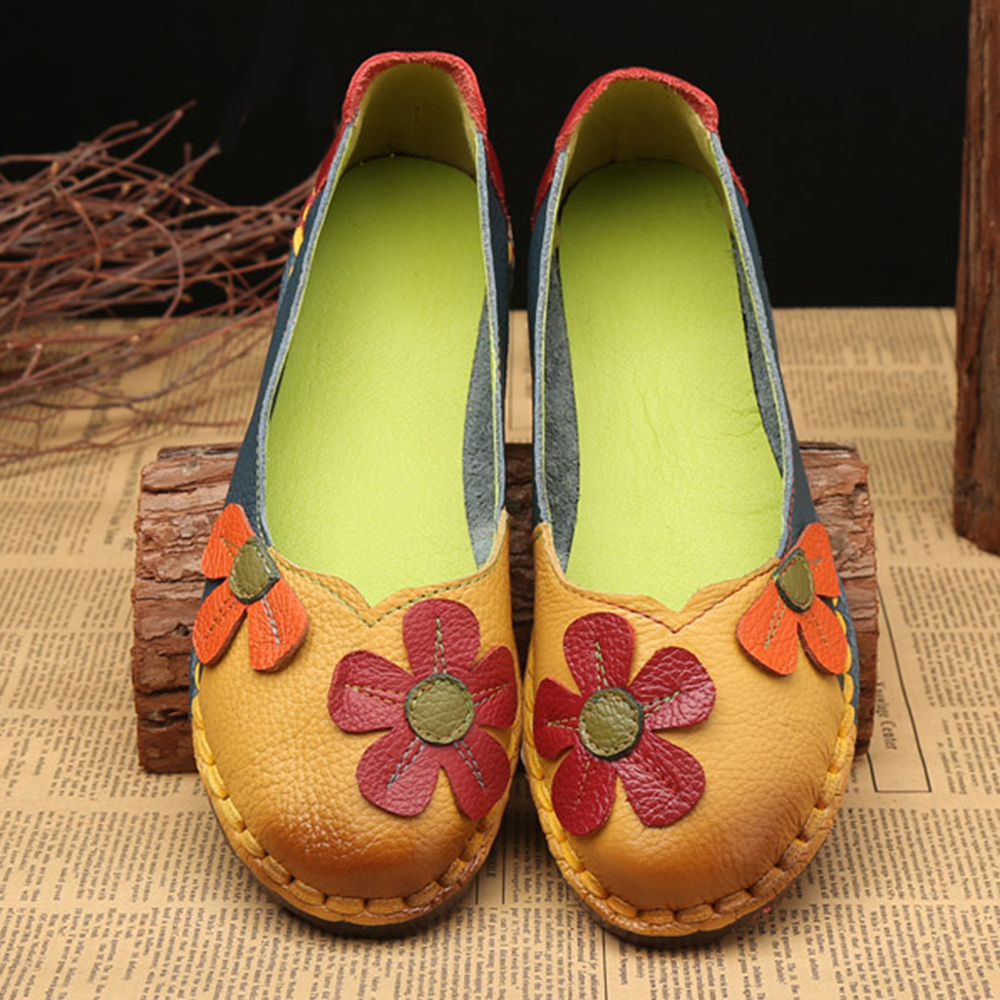 Retro Stitching Leather Flats Casual Shoes
