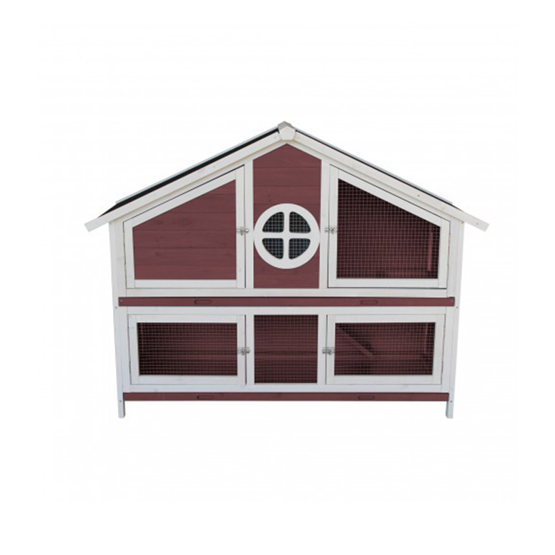 Wooden Pet Bed House Mesh Wire and Metal Locker Waterproofing Pet Cottage Easy Cleaning Rabbit House- Red