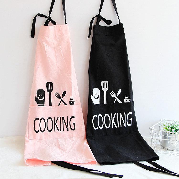 Honana Brief Style Aprons Unisex Men Women Kitchen Aprons Printed Fashion Commercial Restaurant Home Bib Cotton Aprons