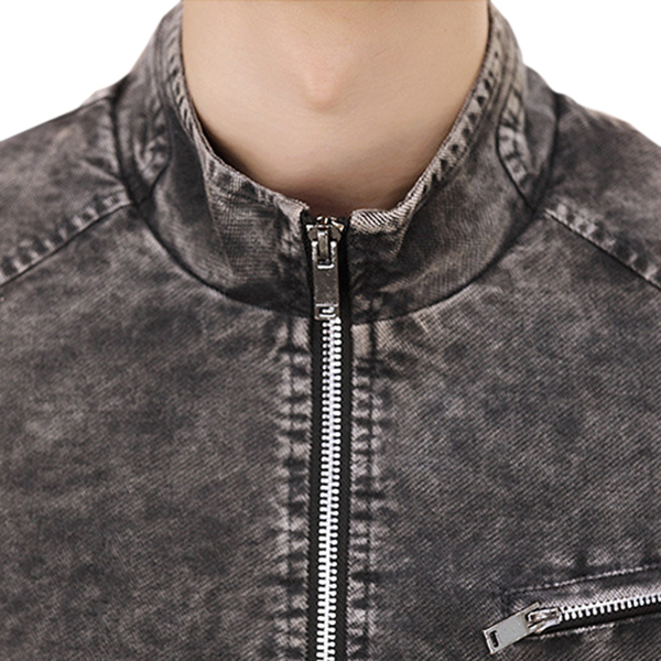 Vintage Fashion Stand Collar Zipper Spring Slim Denim Jacket