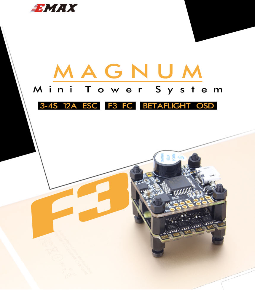 Emax F3 Magnum Mini Tower System 20x20mm 3-4S BLheli_S 12A 4 In 1 ESC + F3 Flight Controller OSD