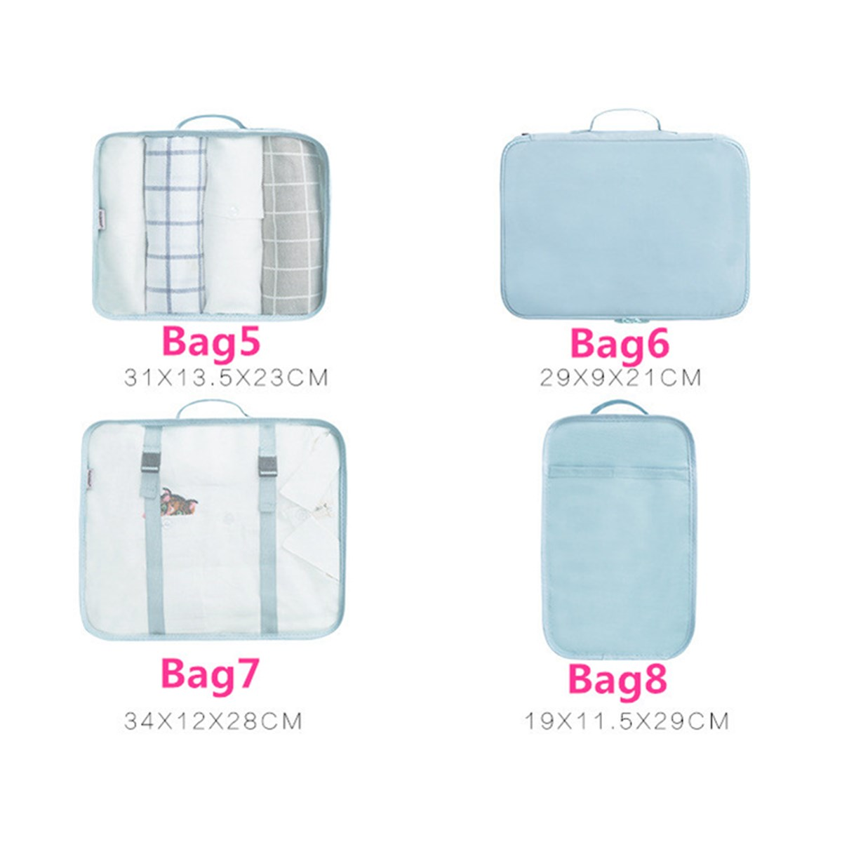 8PCS/Set Travel Luggage Organizer Storage Pouches Suitcase Packing Bags
