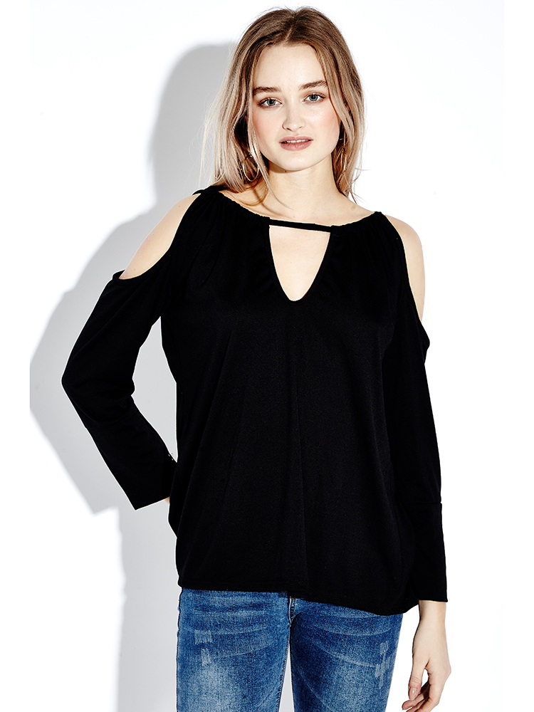 Sexy Back BowKnot Halter Long Sleeve Off Shoulder Women T-shirt Blouse