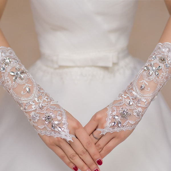 Women Lace Embroidered Wedding Dress White Bridal Gloves