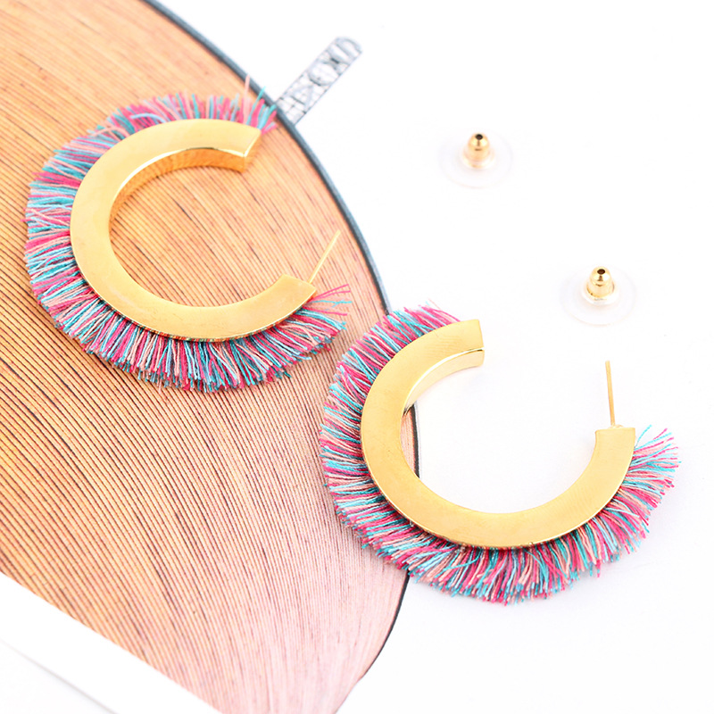 Bohemian Colorful Semicircle C Shape Tassel Earrings