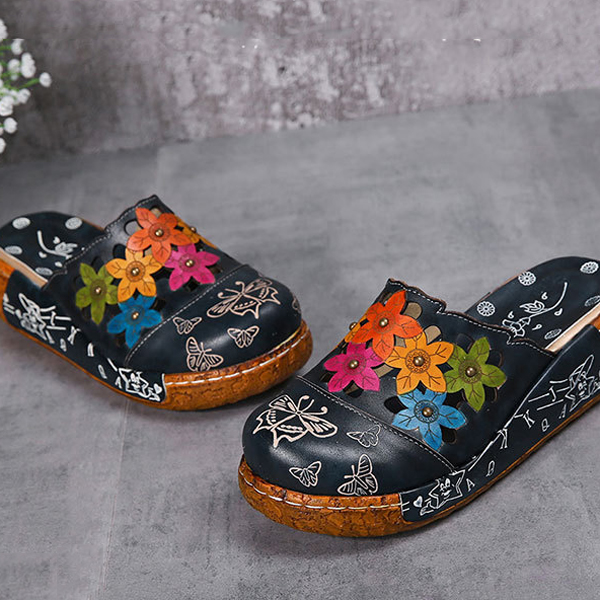 SOCOFY Original Flower Wedge Retro Genuine Leather Shoes