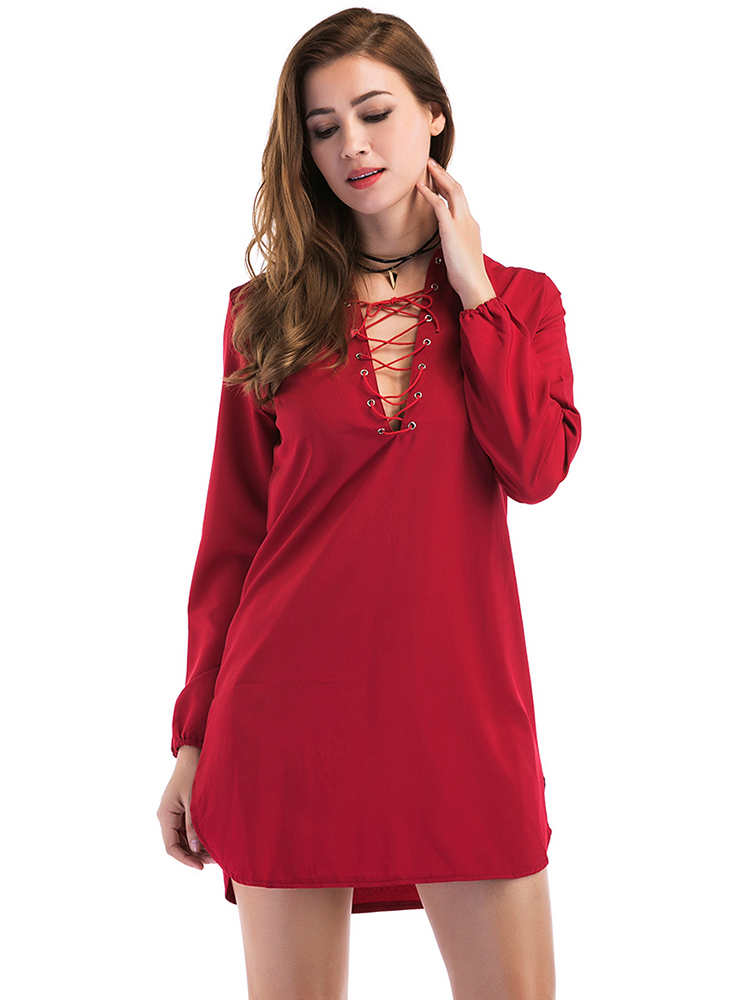 Casual Women Bandage V-neck Long Sleeve Pure Color Dresses