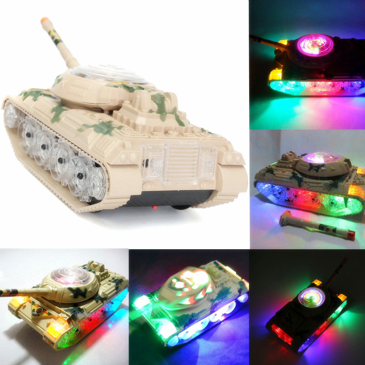 Electronic Moving Army Tank With LED Flashing Lights Sounds Music
