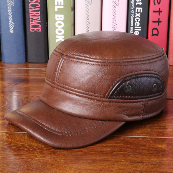 Unisex Cowhide Genuine Leather Earflap Ear Muffs Baseball Cap Fleece Lining Adjustable Military Hat