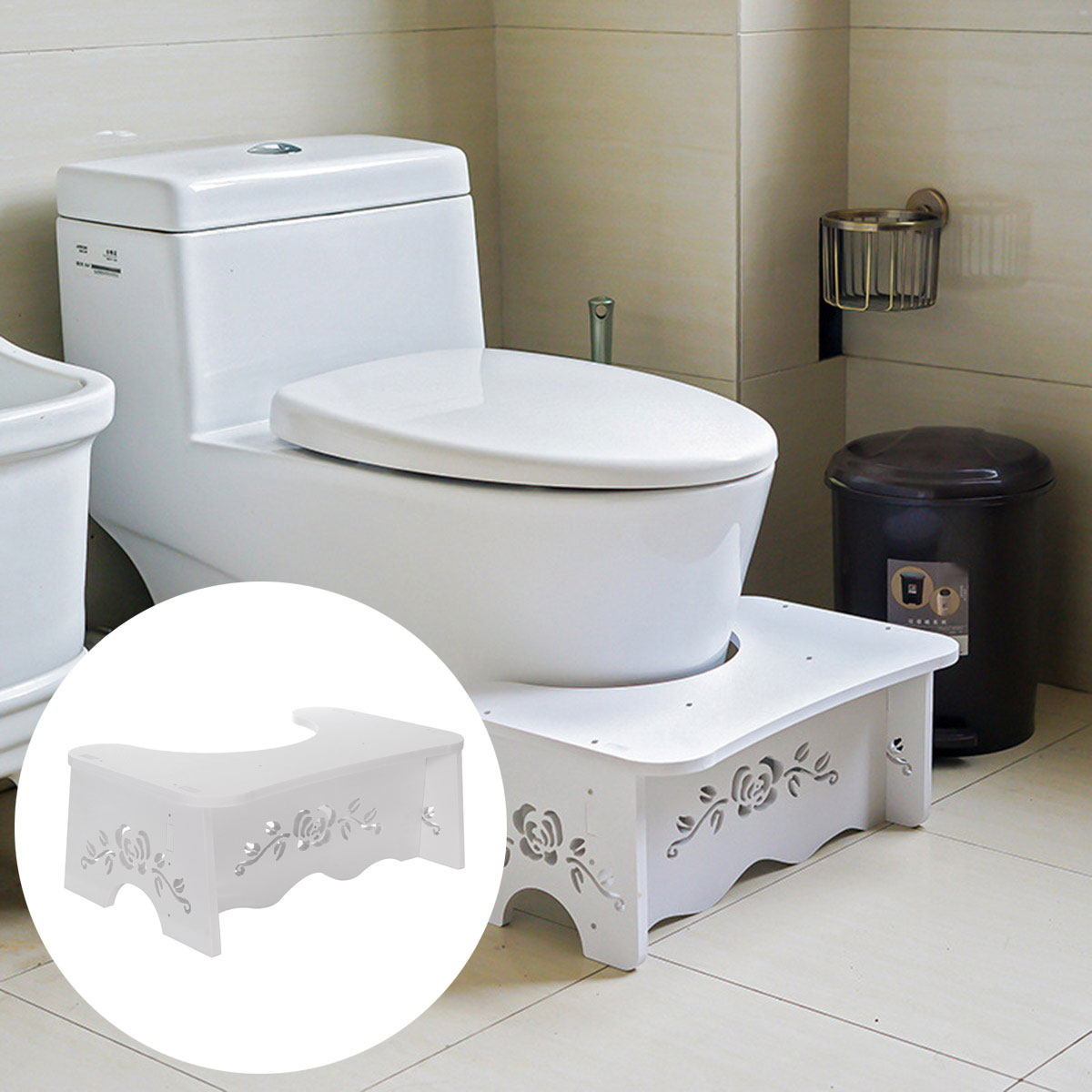 Non Slip Bathroom Squatty Toilet Stool Footstep Bathroom Potty Squat Aid Constipation Piles Relief