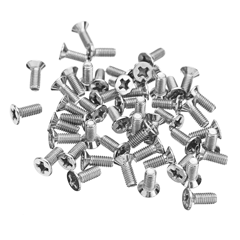 Suleve™ M3SP1 50Pcs M3 Stainless Steel Phillips Flat Head Countersunk Machine Screw 4-12mm Length