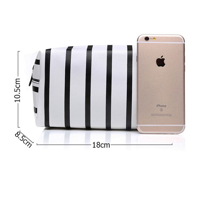 Waterproof PU Leather Stripe Makeup Bag Cosmetic Pouch Travel Storage Make Up Toiletry Case