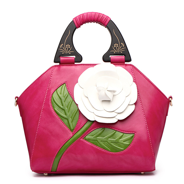 Women PU Leather National Style Decorative Rose Wooden Handl