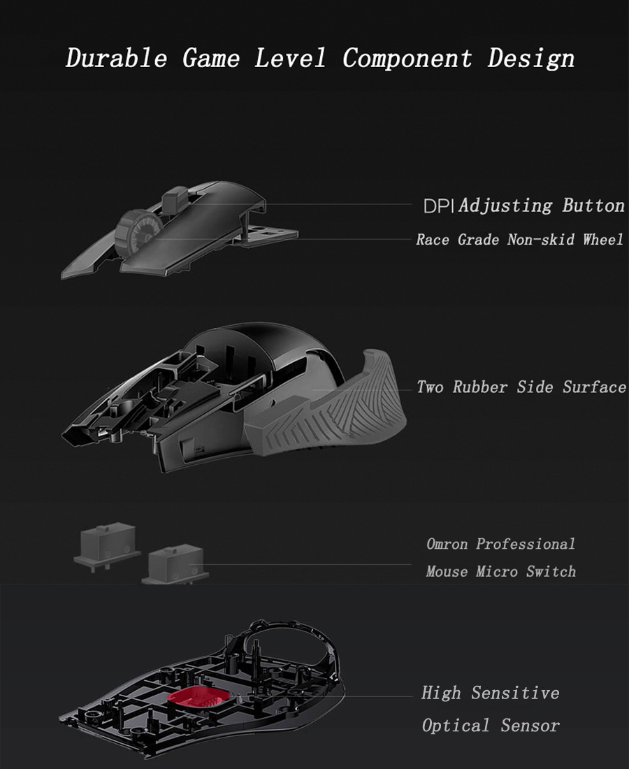 Blasoul Y720Lite 12000DPI RGB Backlight Programmable Mouse Wired Optical E-sports Gaming Mouse
