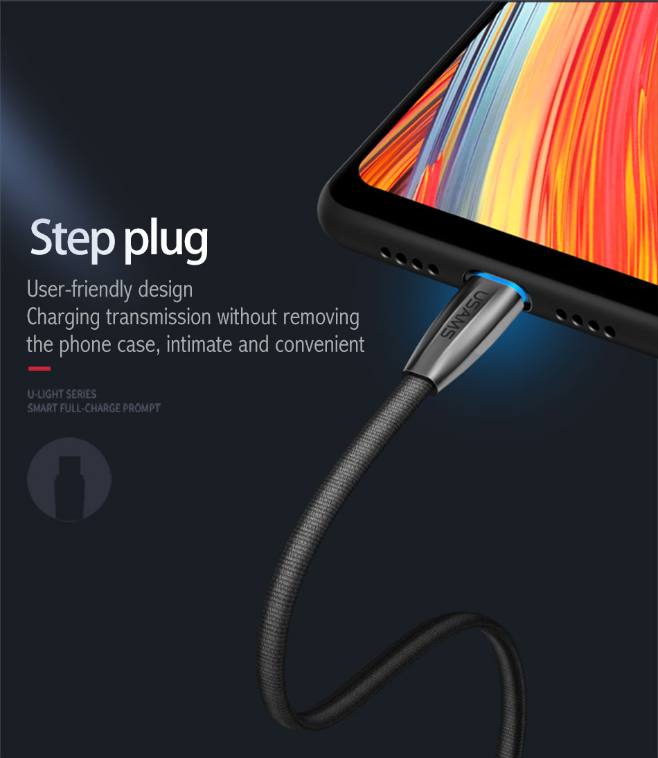 USAMS US-SJ184 2A Type C USB Charging Phone Data Cable 120mm With indicator Light