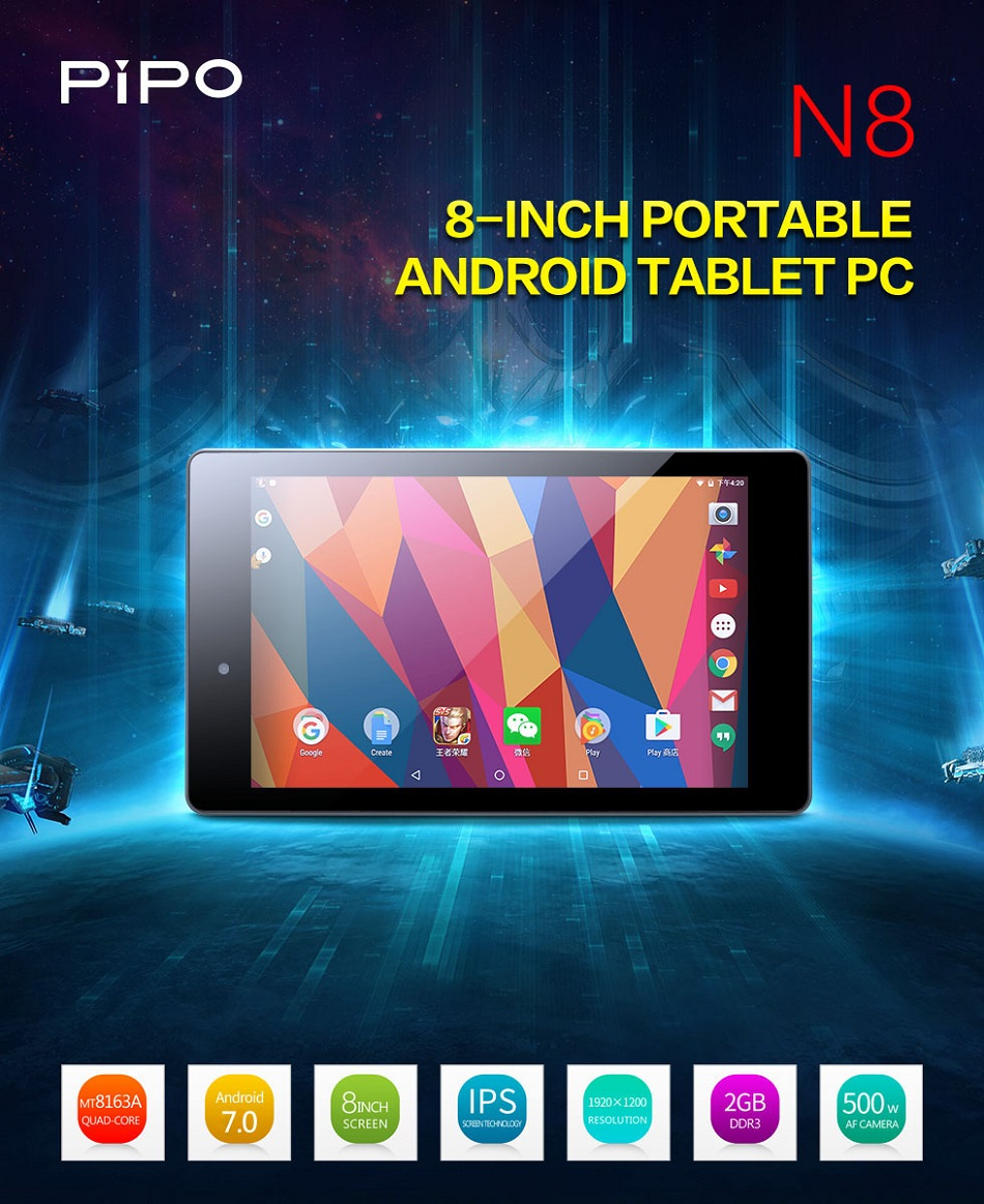 Original Box PIPO N8 16GB MTK8163A Cortex A53 Quad Core 8 Inch Android 7.0 Tablet PC