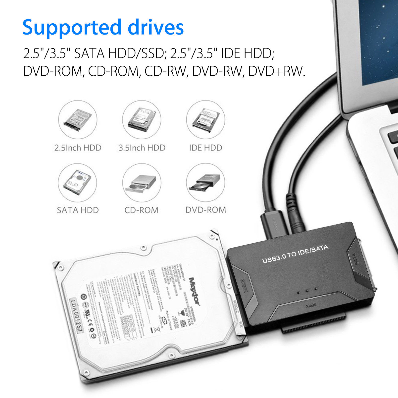 USB 3.0 to IDE + SATA HDD SSD Hard Drive Converter Cable Adapter for 2.5 3.5inch Hard Disk