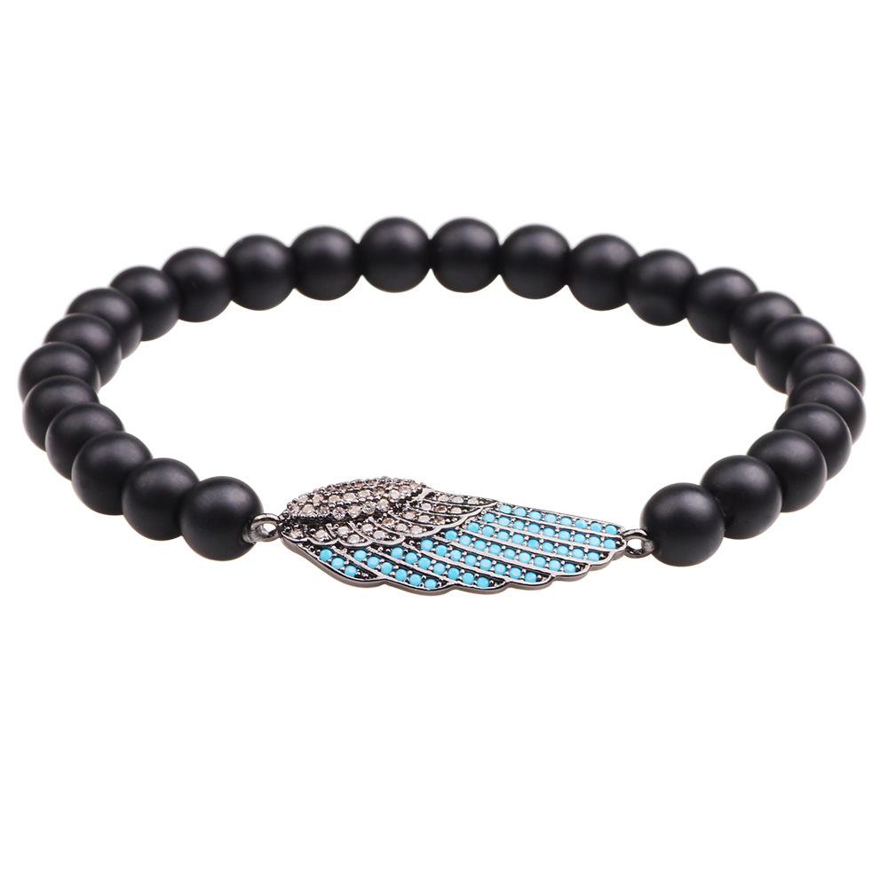 Trendy Tiger Eye Turquoise Beaded Bracelet Micro Inlay Wing