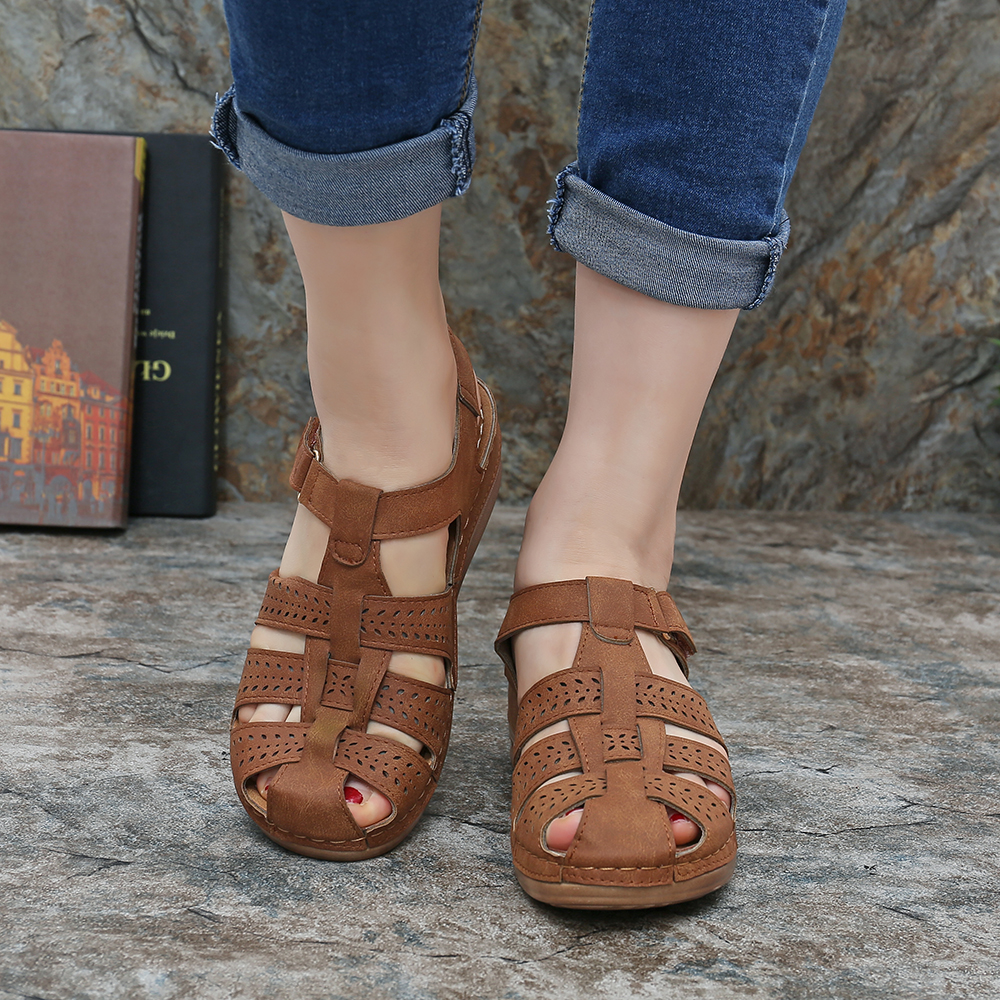 LOSTISY Hollow out Weave Soft Comfy Wedge Sandals
