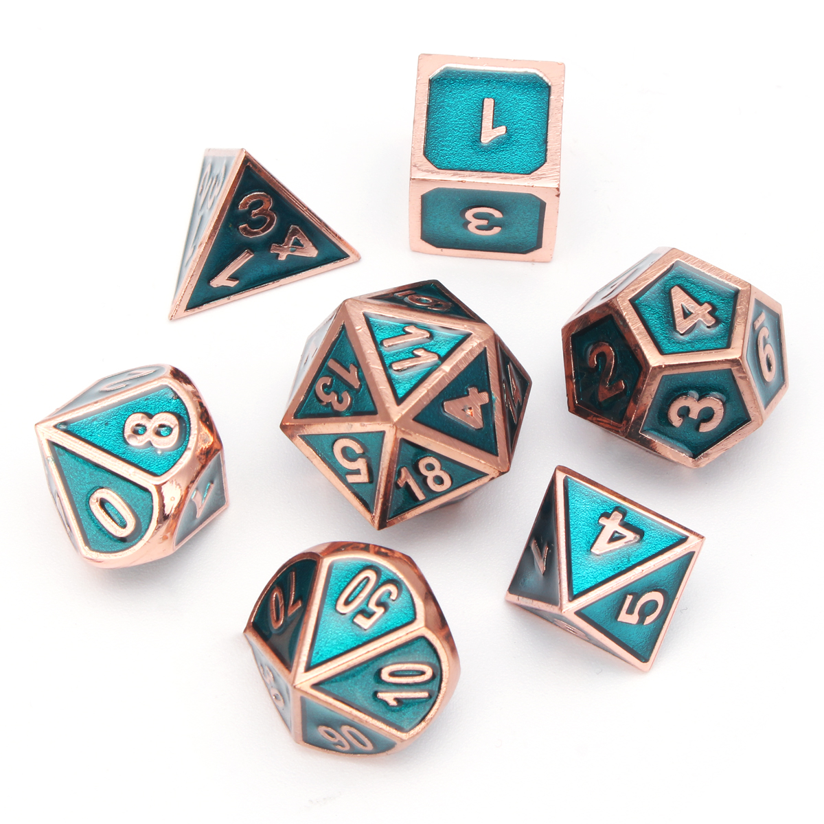 7Pcs Antique Alloy Metal Polyhedral Dice Set Role Playing Game Gadget Dices with Bag