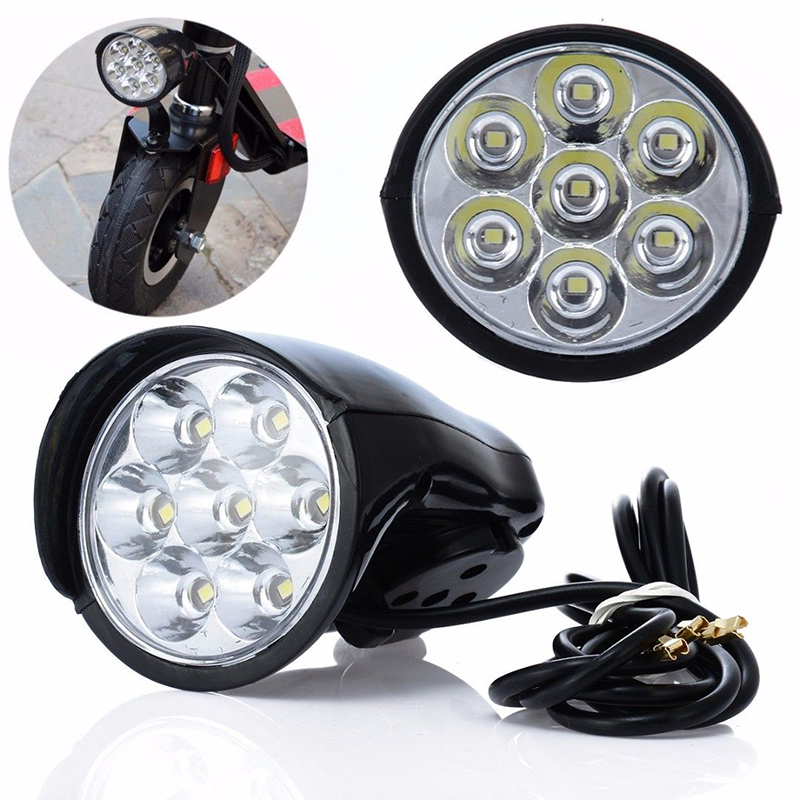 BIKIGHT 2800LM 7x LEDs Bike Front Light Metal Shell 80db Horn Electric Scooter Headlight