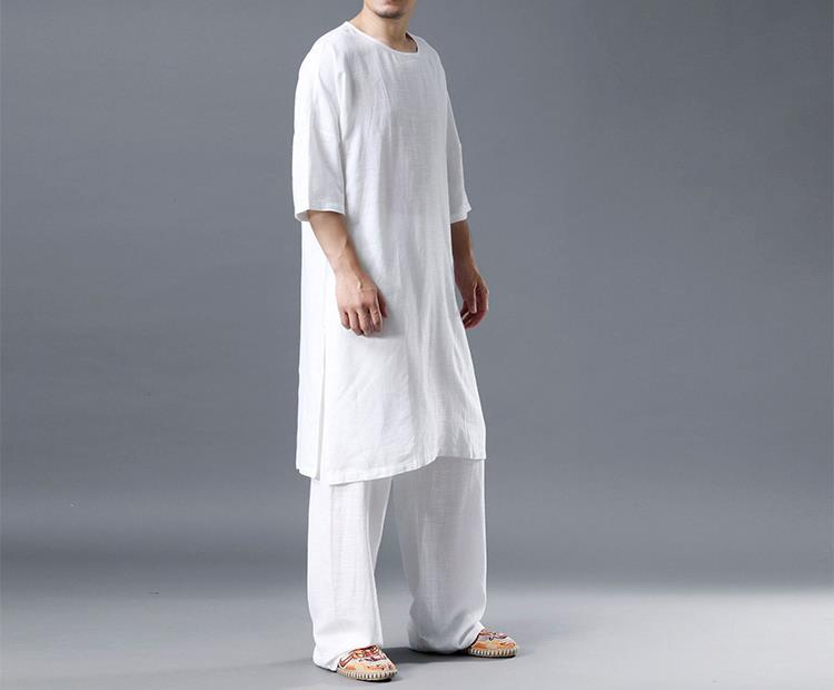 Men's Loose Meditation Yoga Long Dress T-Shirts