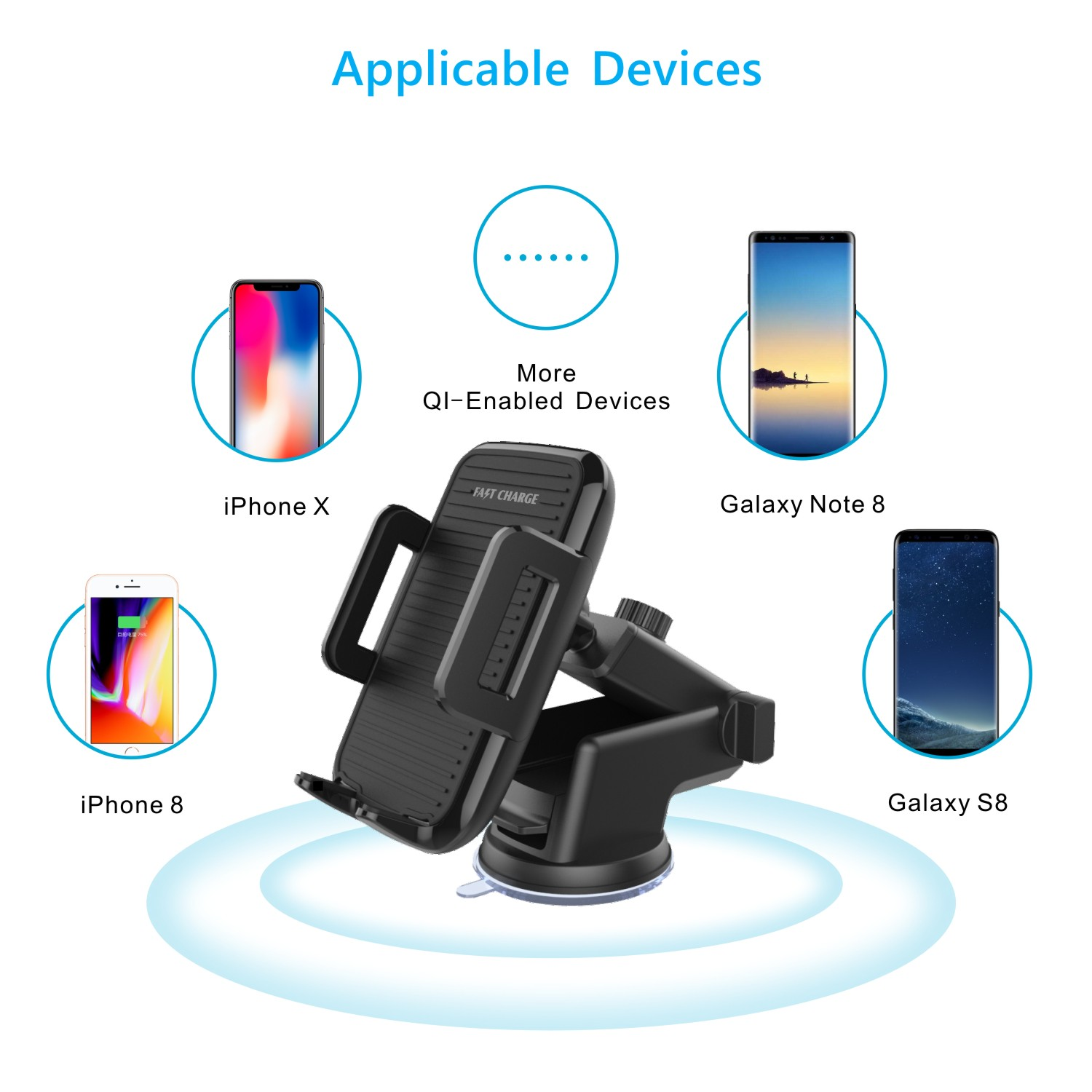 Qi Wireless Fast Charger Car Retractable Suction Cup Dashboard Air Vent Phone Holder for Iphone X