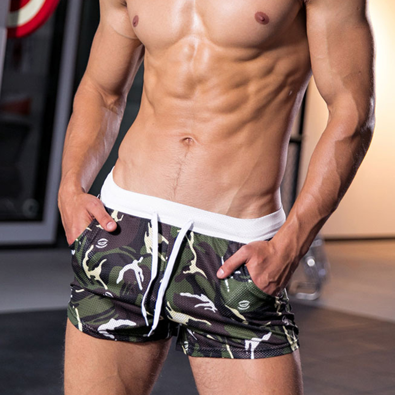 Mens Camouflage Printing Mesh Breathable Sport Casual Shorts