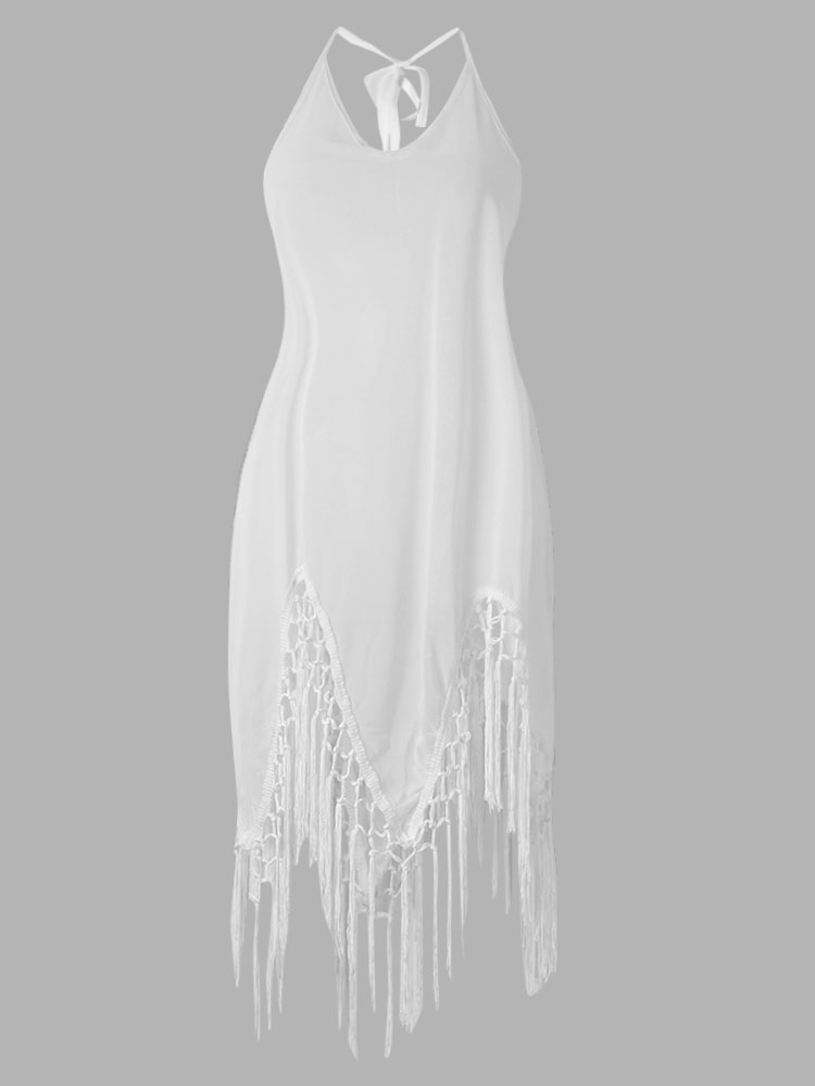 Sexy Women Fringe Patchwork Asymmetrical Bikini Cover Up Mini Dress