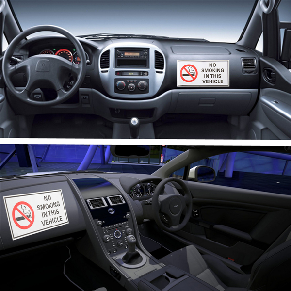 5Pcs Waterproof NO SMOKING IN THIS VEHICLE Warning Sign Vinyl Decal Sticker 120*60mm