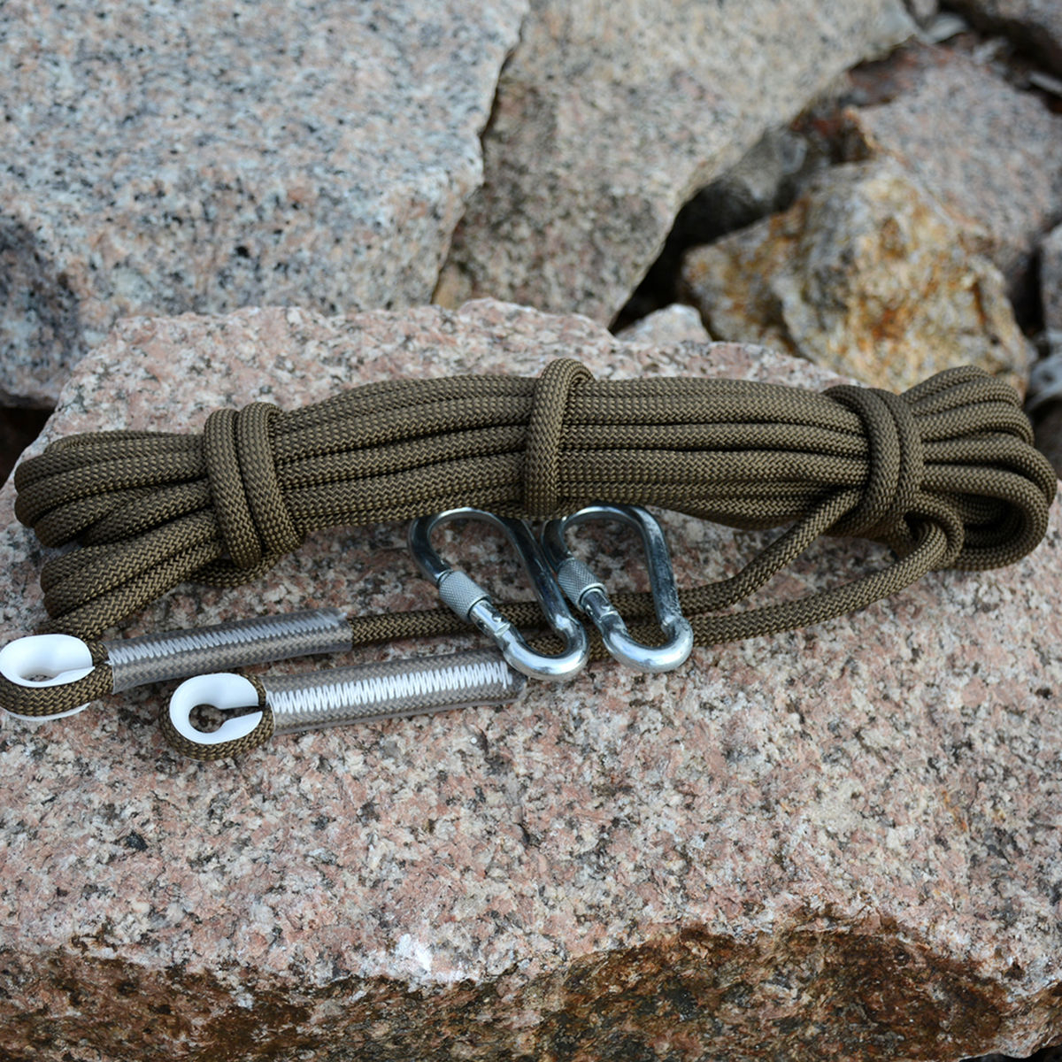 10m Army Green Tree Rock Climbing Rope Rescue Auxiliary Rope Cord + 2 Carabiners Gear