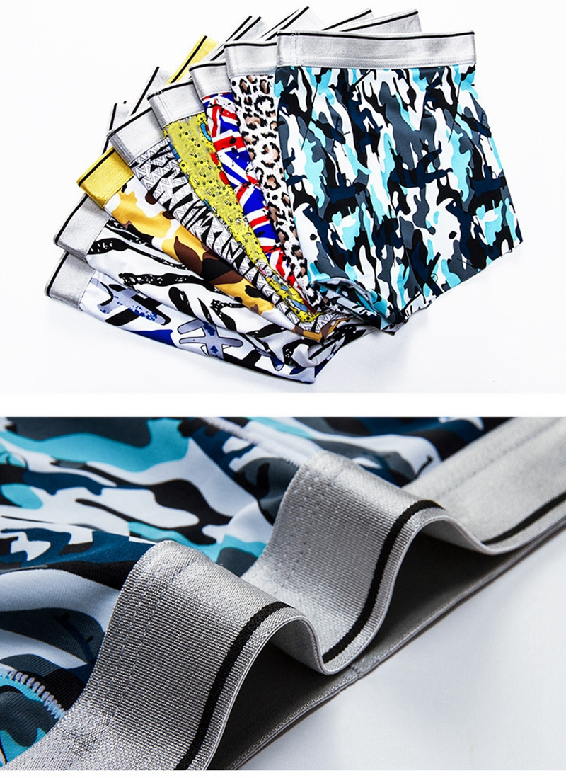 4 Pieces Ice Silk Soft Cool Comfy Printing Boxer Briefs